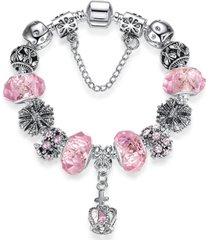 pulsera dije corazon mujer cuentas cristal murano 3788 rosa