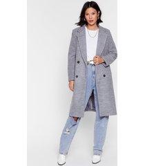womens wool you be mine longline faux wool coat - grey