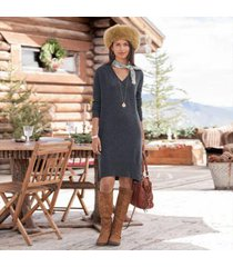 sundance catalog women's tillie cashmere dress in charcoal small