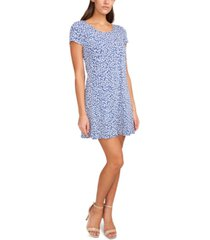 msk printed cap-sleeve swing dress