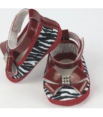 sapato bebê feminino vermelho zebrinha-p