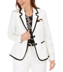kasper petite contrast-piped blazer