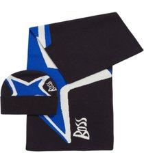 boss men's star-artwork hat & scarf set