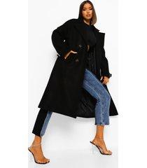 oversized nepwollen jas met schoudervulling, black
