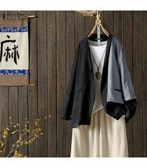 zanzea otoño las mujeres de manga larga tops capa de la chaqueta chaqueta de punto casual trajes outwearchildrens plus -negro