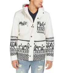 sun + stone men's topanga tribal patterned hooded jacket, created for macy's