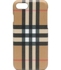burberry check printed iphone 8 case - neutrals