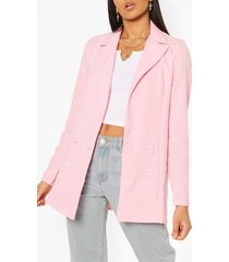 tall double breasted woven blazer, pink