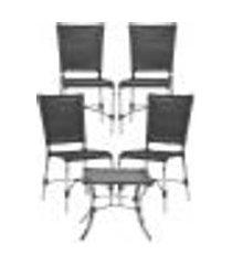 jogo cadeiras 4un e mesa de centro romenia para edicula jardim area varanda descanso - preto