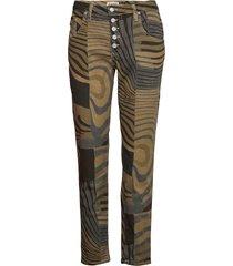 5b straight round print raka jeans grön please jeans