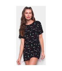 camiseta tricats barra ajuste enjoy love feminina