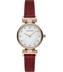 emporio armani women's reversible red & brown leather strap watch 28mm