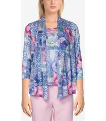 alfred dunner women's missy classics scroll floral patchwork burnout two-for-one top