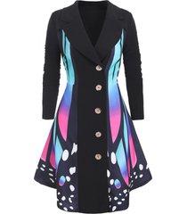 butterfly print asymmetrical plus size coat