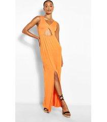 tall twist front maxi split leg jersey dress, orange