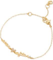kate spade new york gold-tone pave heart ever after link bracelet