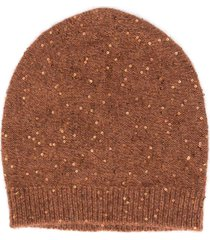 fabiana filippi sequin-embellished beanie hat - brown