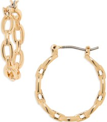 women's halogen curb chain hoop earrings