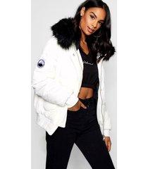tall gewatteerde korte contrasterende faux fur jas, wit