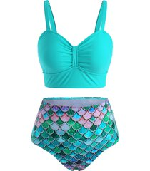 ruched high waisted mermaid scales print tankini swimwear