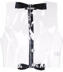 raf simons transparent bow-detail vest - neutrals