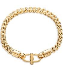 eye candy la women's luxe 18k goldplated titanium braided bracelet