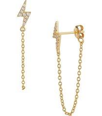 chloe & madison women's gold vermeil & cubic zirconia lightning bolt chain-drop earrings