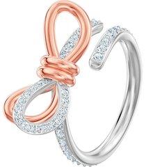 anillo lifelong bow, blanco, combinación de acabados metálicos