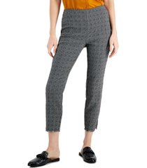 alfani petite printed jacquard fringed-cuff cropped pants, created for macy's