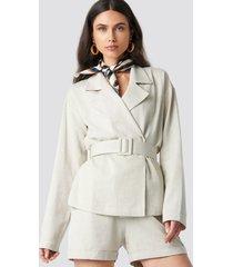 na-kd classic wide belted oversized blazer - beige