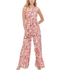 tommy hilfiger floral-print belted jumpsuit