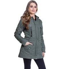 jaqueta sobretudo acolchoado chillan bolso com zíper capuz removível verde