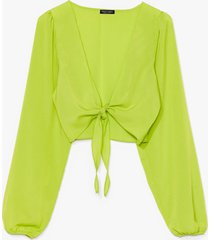 womens tie do you ask relaxed cropped blouse - lime