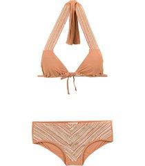 amir slama lace up bikini - neutrals