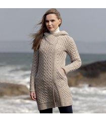 women's oatmeal claddagh aran zipper coat large