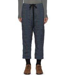 contrast textured stripe drawstring waist crop pants
