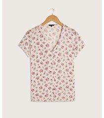 blusa botones cuello v estampado lineas