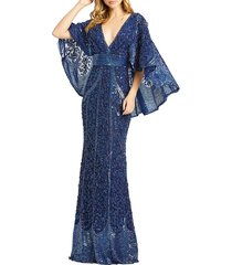 mac duggal women's embellished cape-sleeve column gown - midnight - size 4