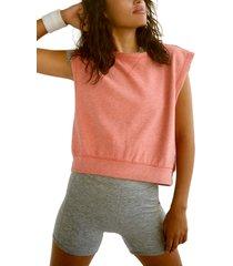 women's free people fp movement kick it sleeveless sweatshirt, size small - coral
