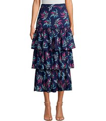 sevilla ruffled floral print midi skirt