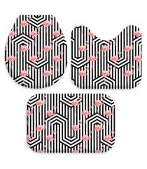 kit 3 tapetes decorativos para banheiro wevans flores preto