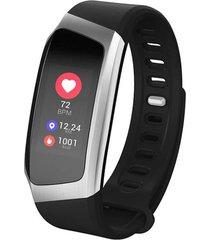 smartband pulsera inteligente ritmo cardiaco e18 negro gris