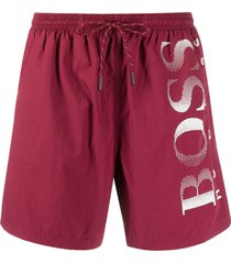 boss logo print swim shorts - red