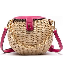 frances valentine honeypot woven crossbody bag - pink