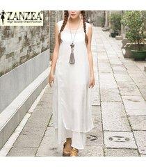 zanzea verano de la manera mujeres del vestido largo vestido maxi ocasional floja del tamaño rayón vestido de seda sin mangas vestidos plus s-5xl (off white) -blanco