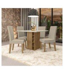 sala de jantar camélia kappesberg a021 mesa com 4 cadeiras geométrico bege