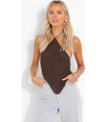 gebreide bandana top met halter neck, chocolate