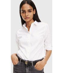blusa tommy hilfiger blanco - calce slim fit