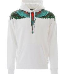 marcelo burlon green wings print hoodie