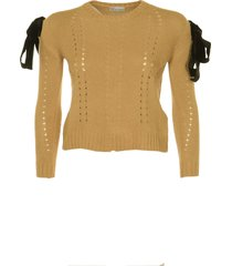 red valentino tie-shoulder perforated knit sweater